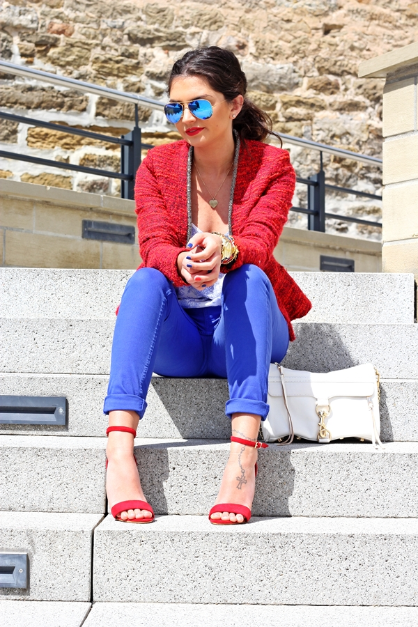 red and blue outfits
