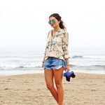 vacation outfit: ripped denim shorts