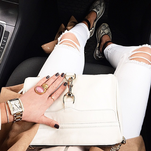 details-outfit-rebeccaminkoff-mac-clutch-white-sarenza-shoes-missguided-ripped-jeans-michaelkors watch