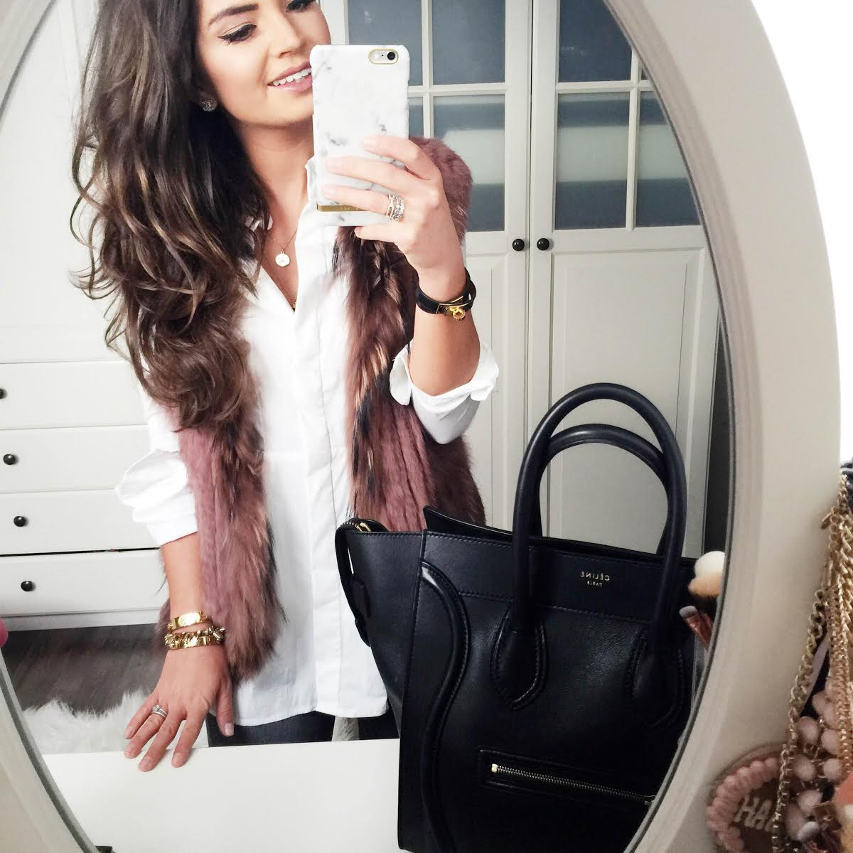 outfit-celine-luggage-vest-white-blouse