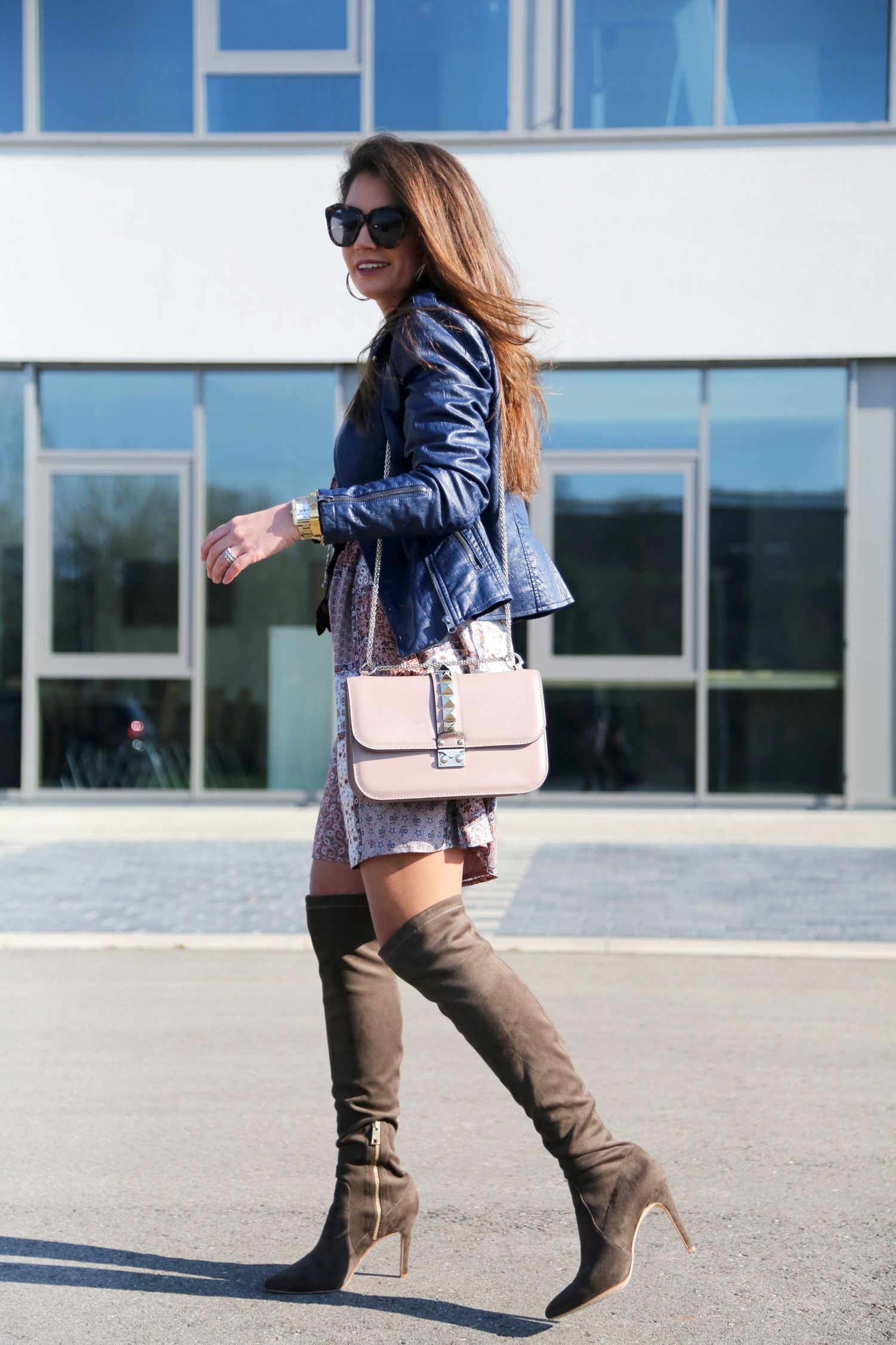 outfit-dress-leather-jacket-esprit