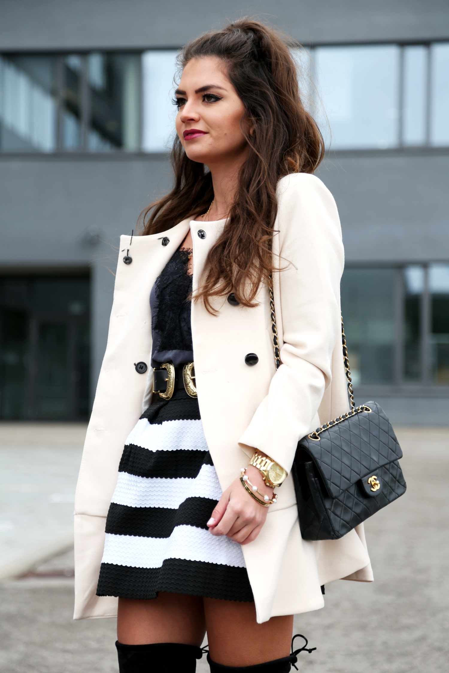 outfit-fashionhippieloves-lace-shirt-stripes-skirt-chanel-bag