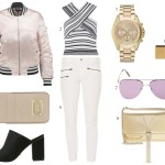 outfit with a bomber jacket and mules