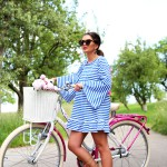 on a bike tour with my tassel dress and pom pom sandals