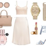 outfit with a pleated skirt and pastel colors