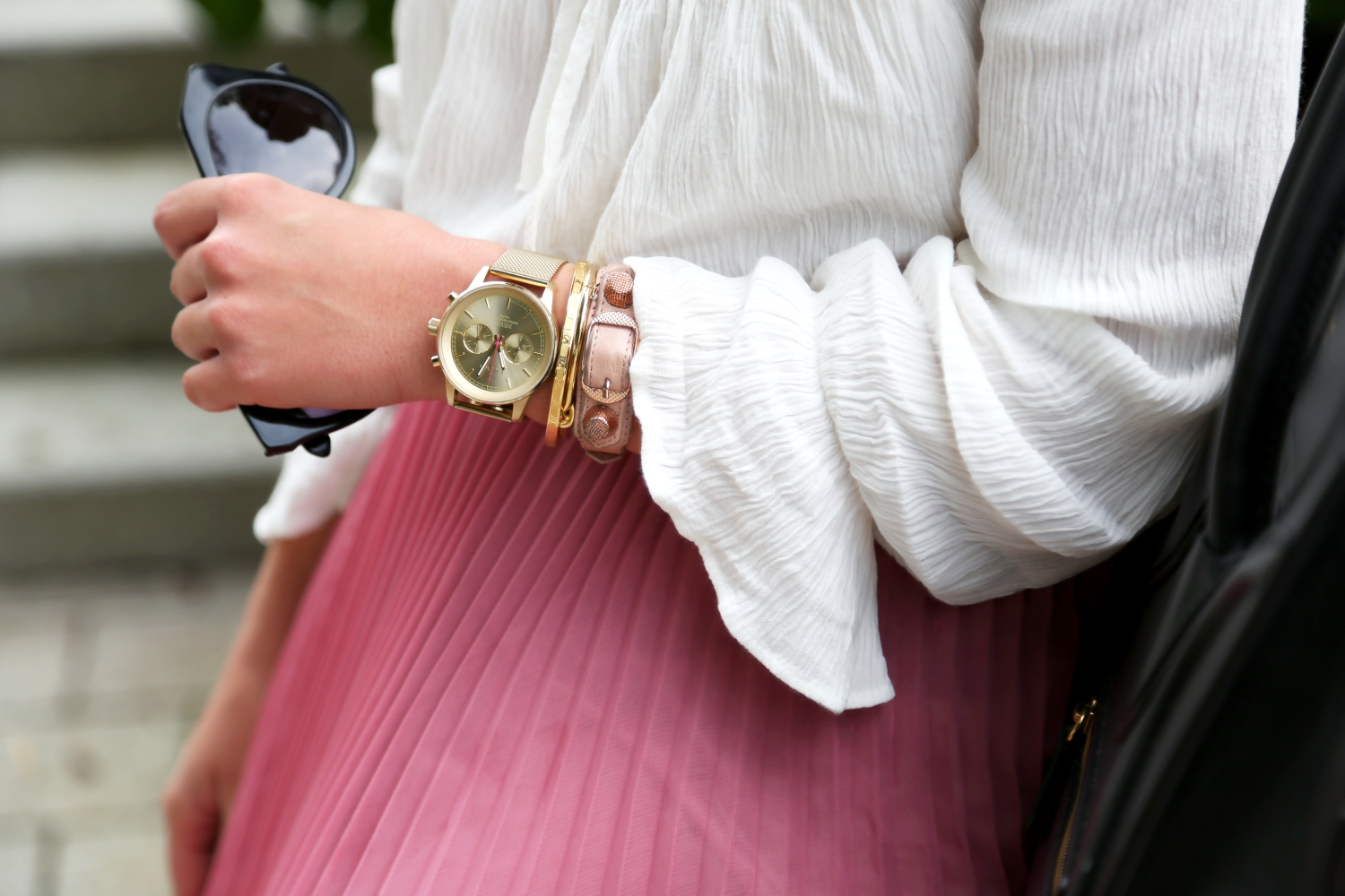 outfit-pleated-skirt-triwa-watch-armparty-white-blouse-karen-walker-sunglasses