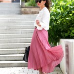 pleated skirt and rockstud kitten heels