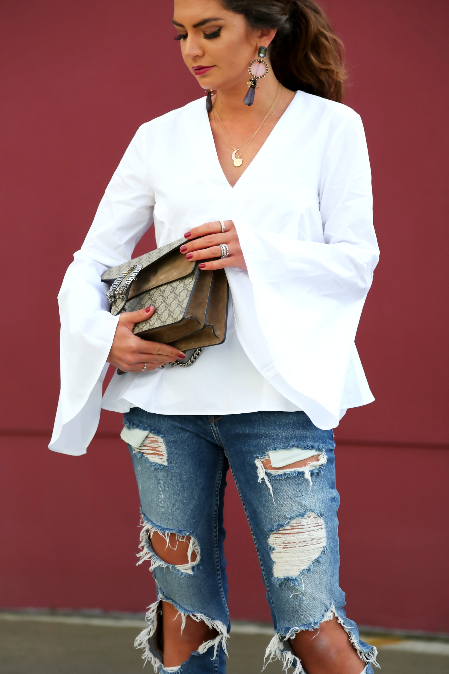 outfit-ripped-jeans-gucci-bag-white-blouse