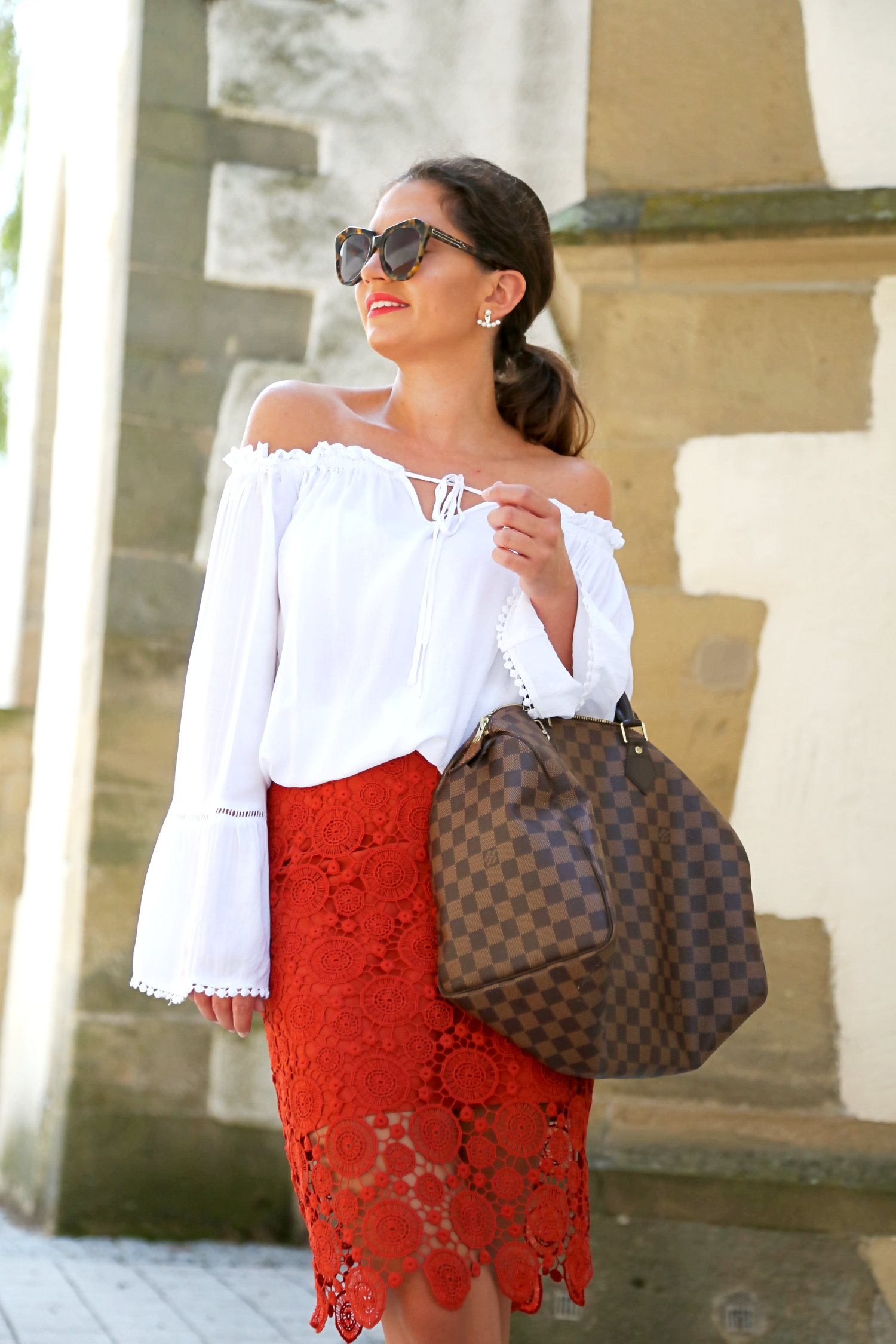 outfit-details-louis-vuitton-35-speedy-damier-lace-skirt-off-shoulder-top