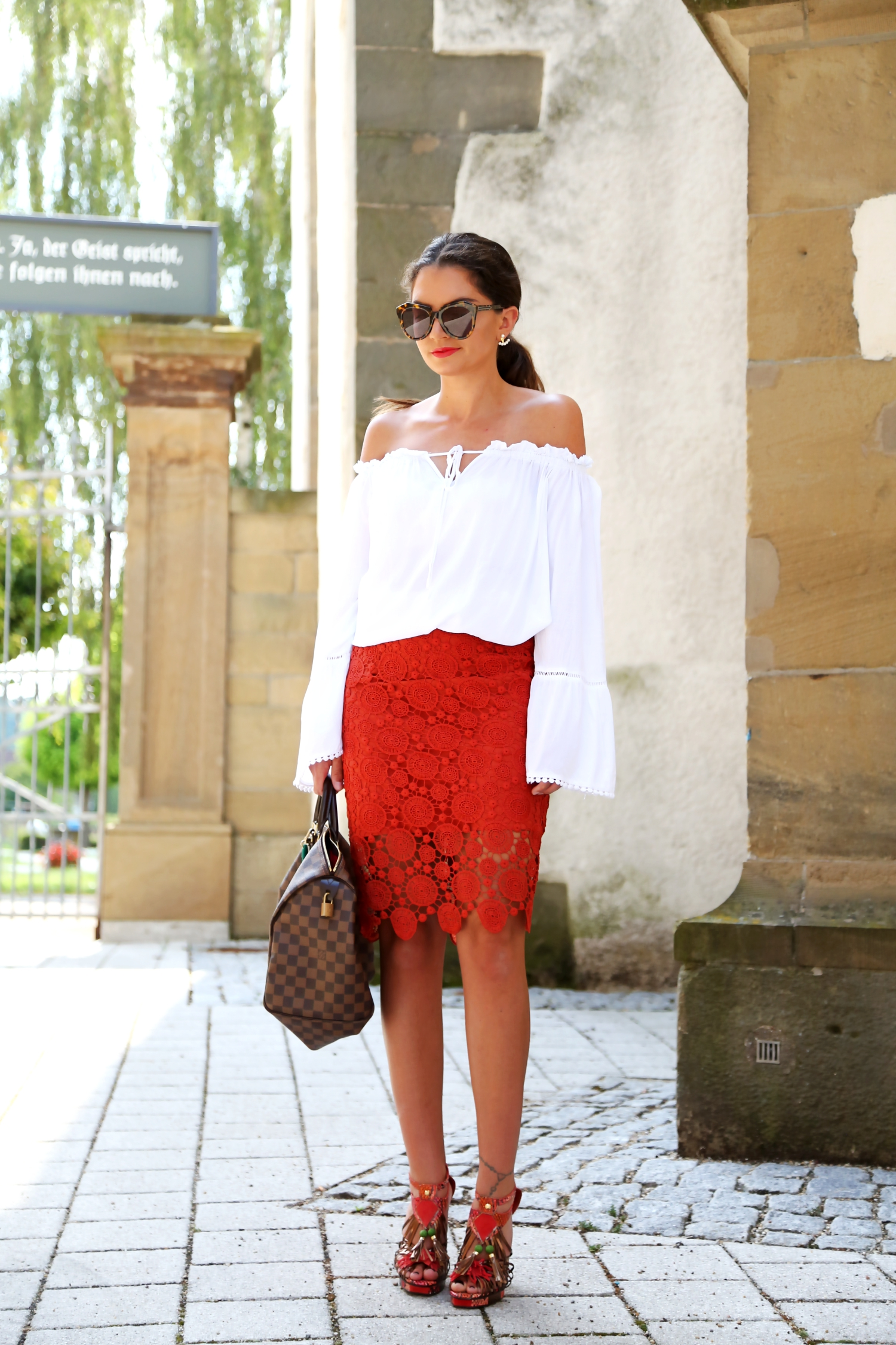 outfit  off shoulder  lace skirt and my speedy bag
