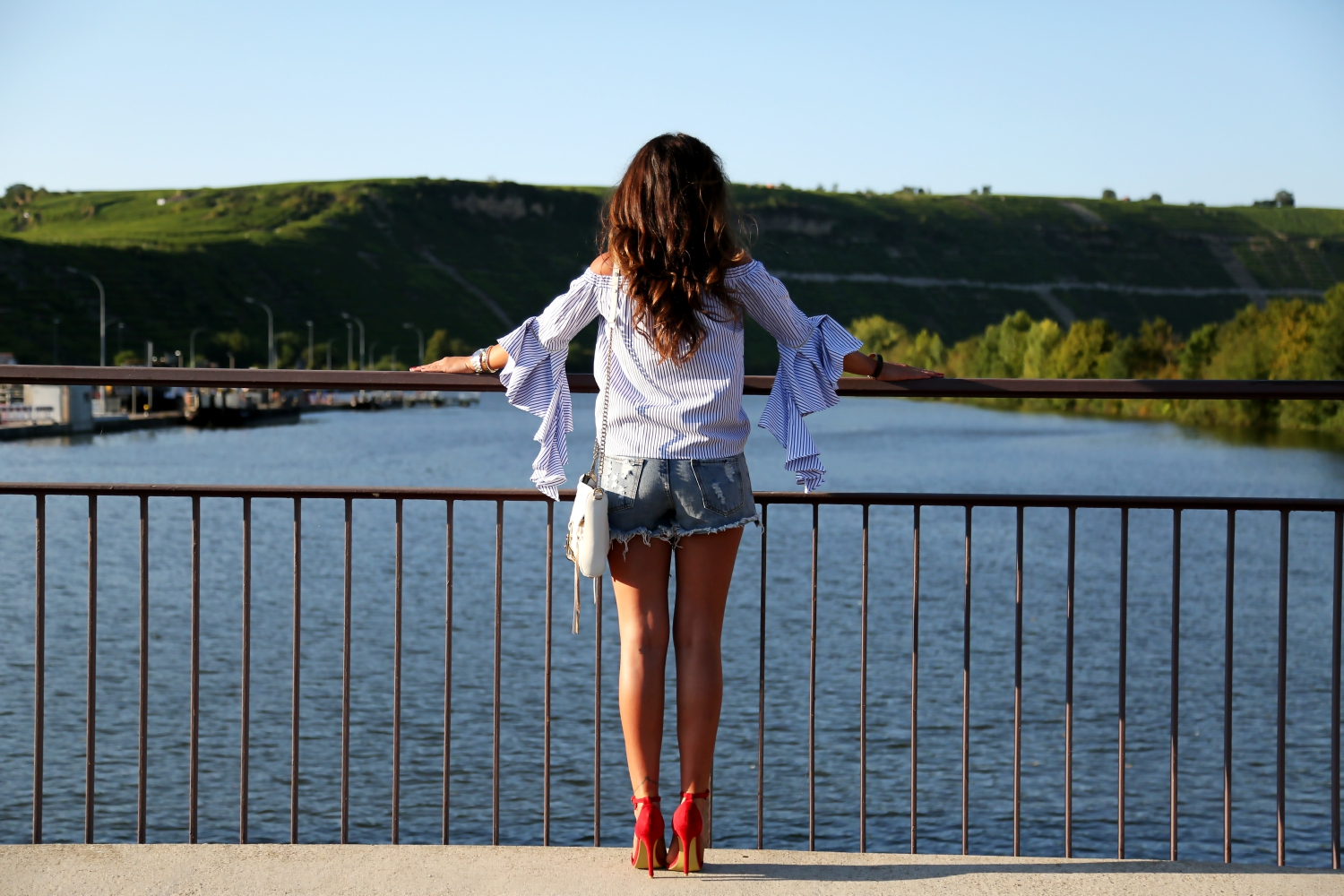 outfit-details-red-sandals-off-shoulder-top-ripped-shorts