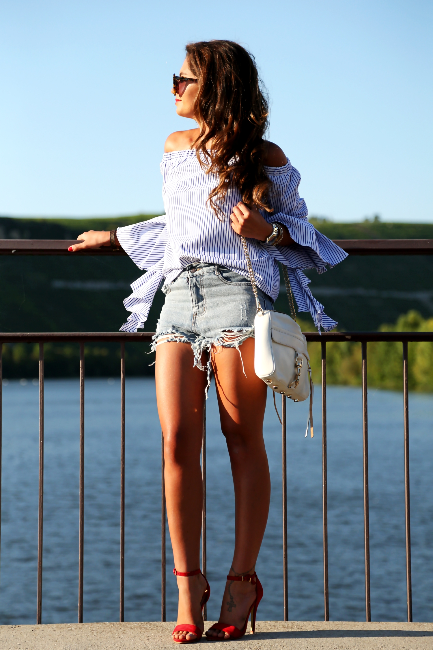 outfit-off-shoulder-top-ripped-shorts-rebecca-minkoff-bag
