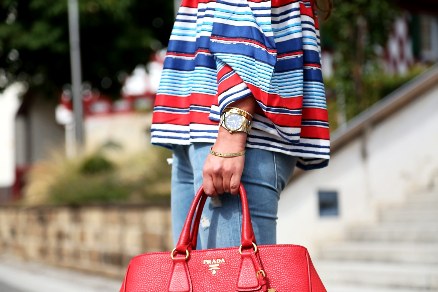 outfit-prada-bag-off-shoulder-blouse-red-blue-stripes-trend-summer