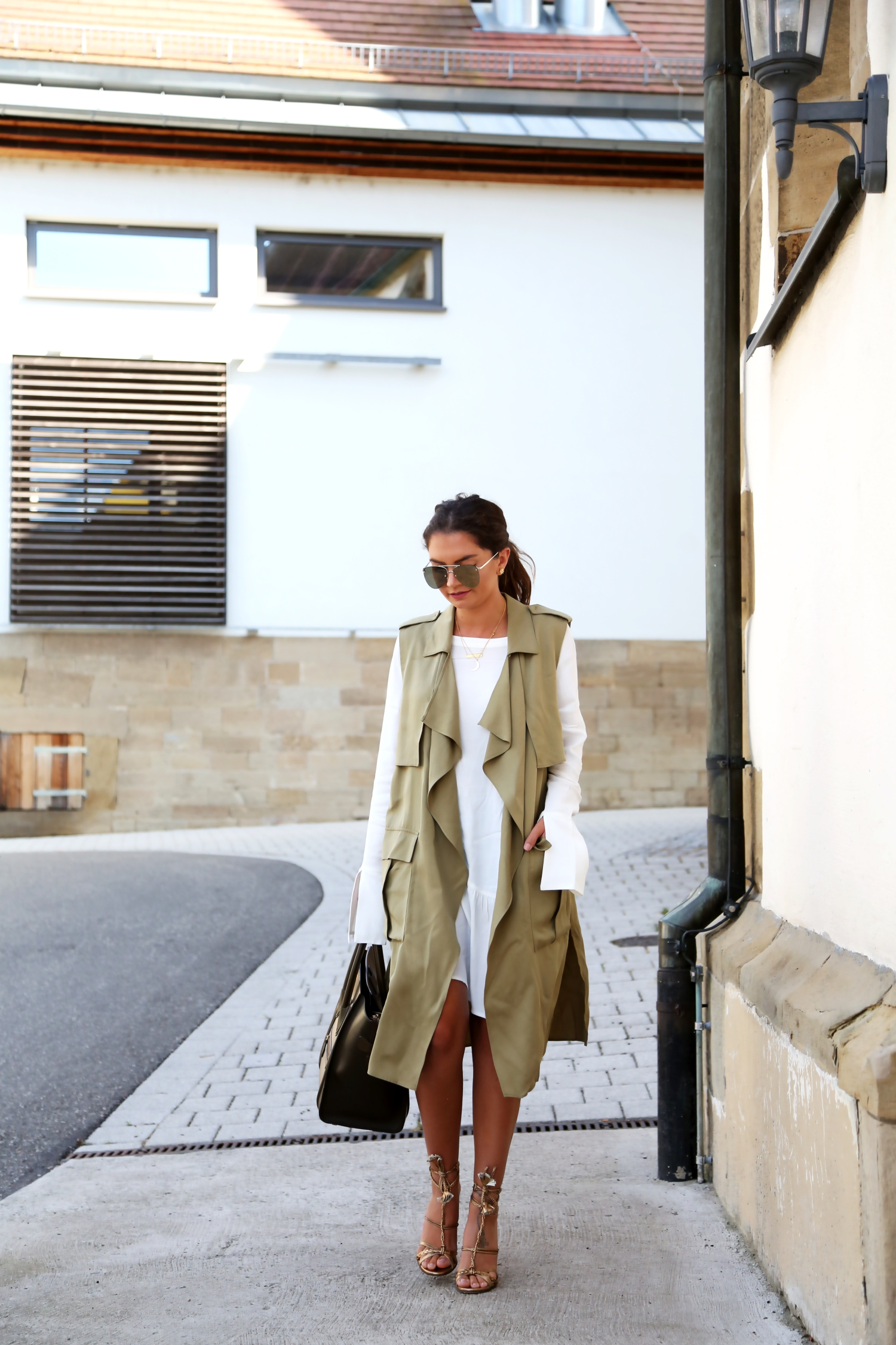 outfit-military-vest-white-long-blouse-dress-celine-luggage-bag