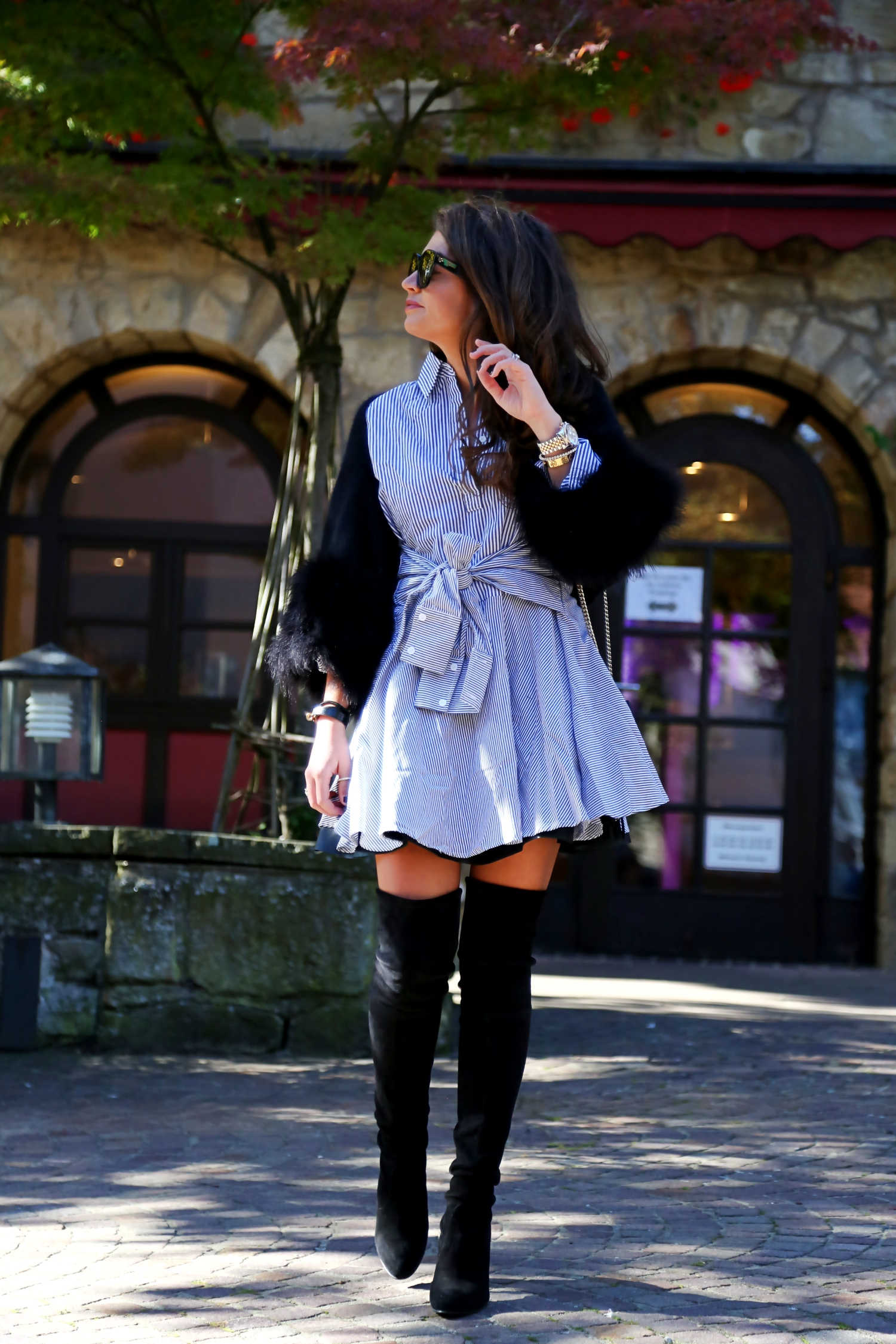 outfit-overknees-stripes-dress-leather-skirt-celine-sunglasses-fall-uniform
