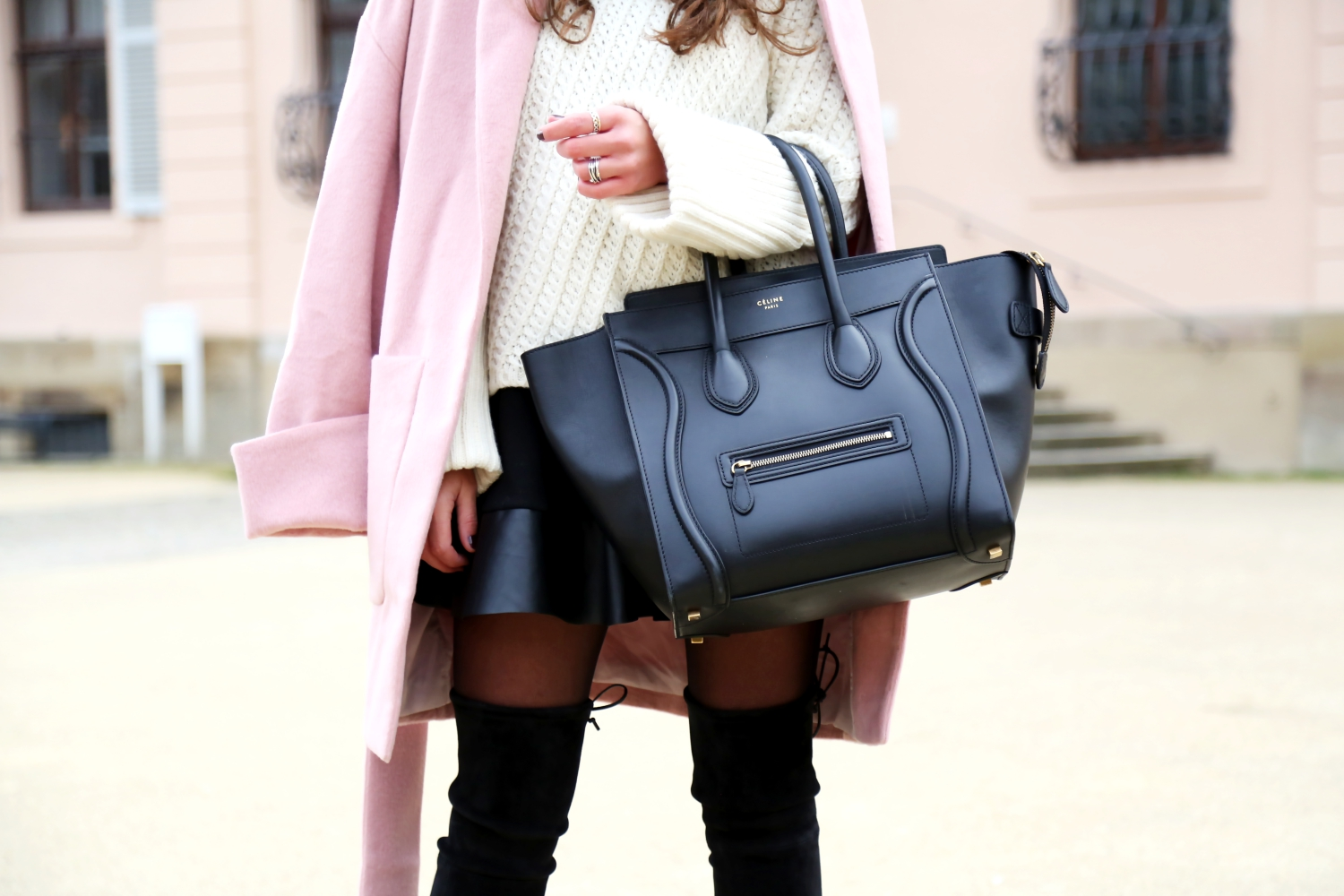 outfit-edited-coat-sweater-stuart-weitzman-overknees-celine-luggage-bag-black