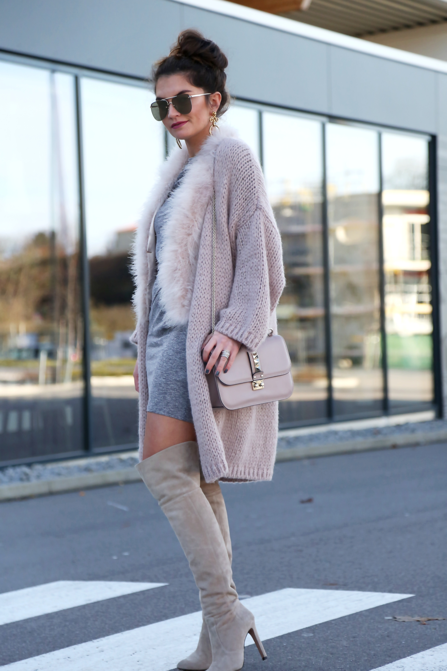 outfit-hallhuber-cardigan-edited-dress-fall-herbst-look-beige-nude