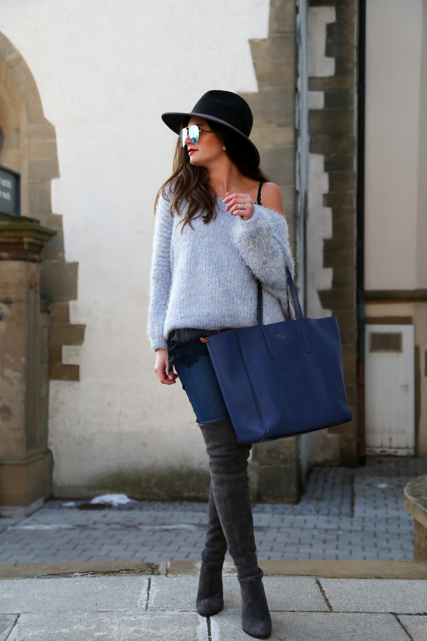 off-shoulder sweater , overknees and a hat - FashionHippieLoves