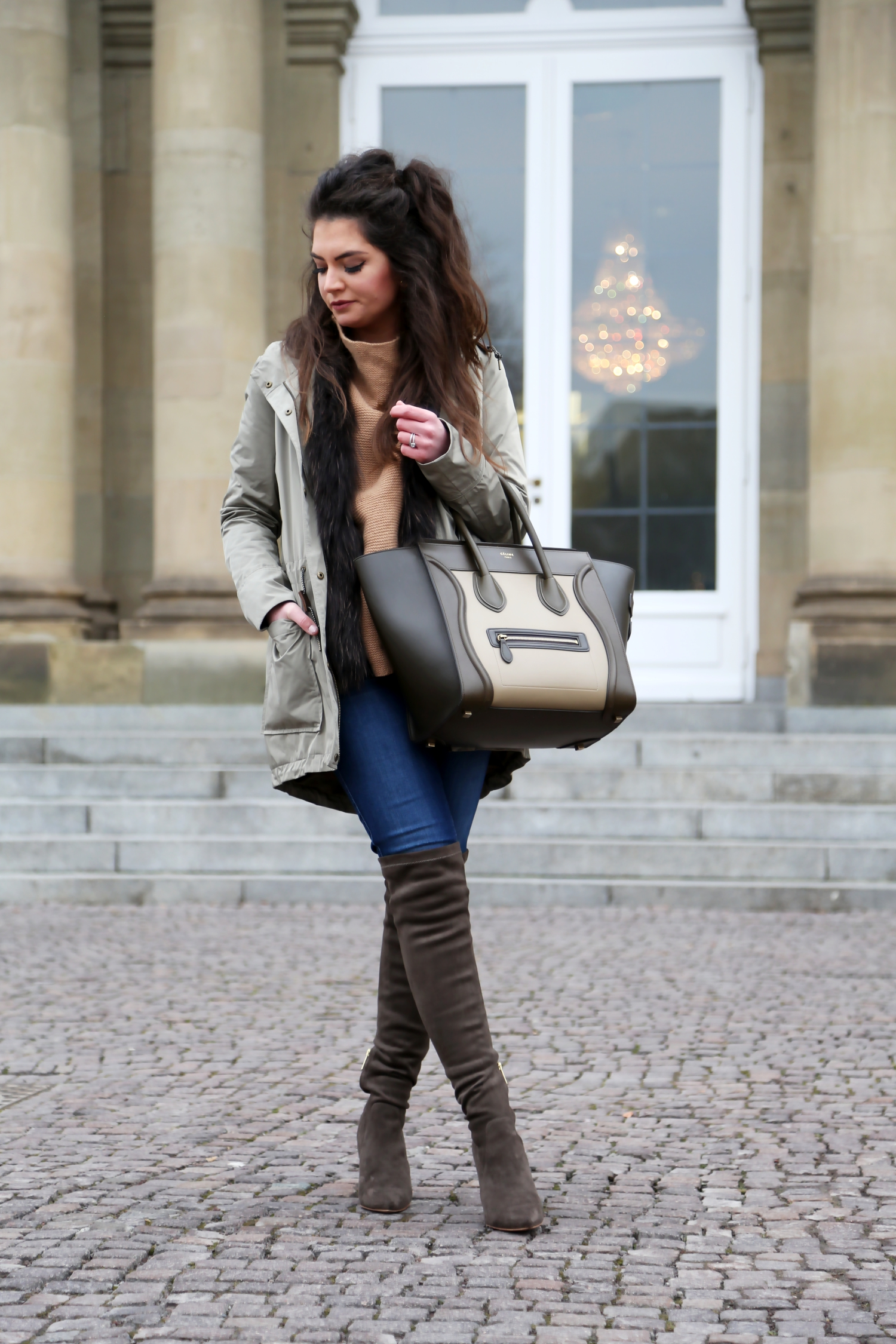 outfit-overknees-joie-celine-luggage-parka-blue-jeans