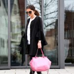 bow blouse and a pink Valentino rockstud bag