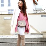 outfit: pink long sleeve sweater and a white faux coat