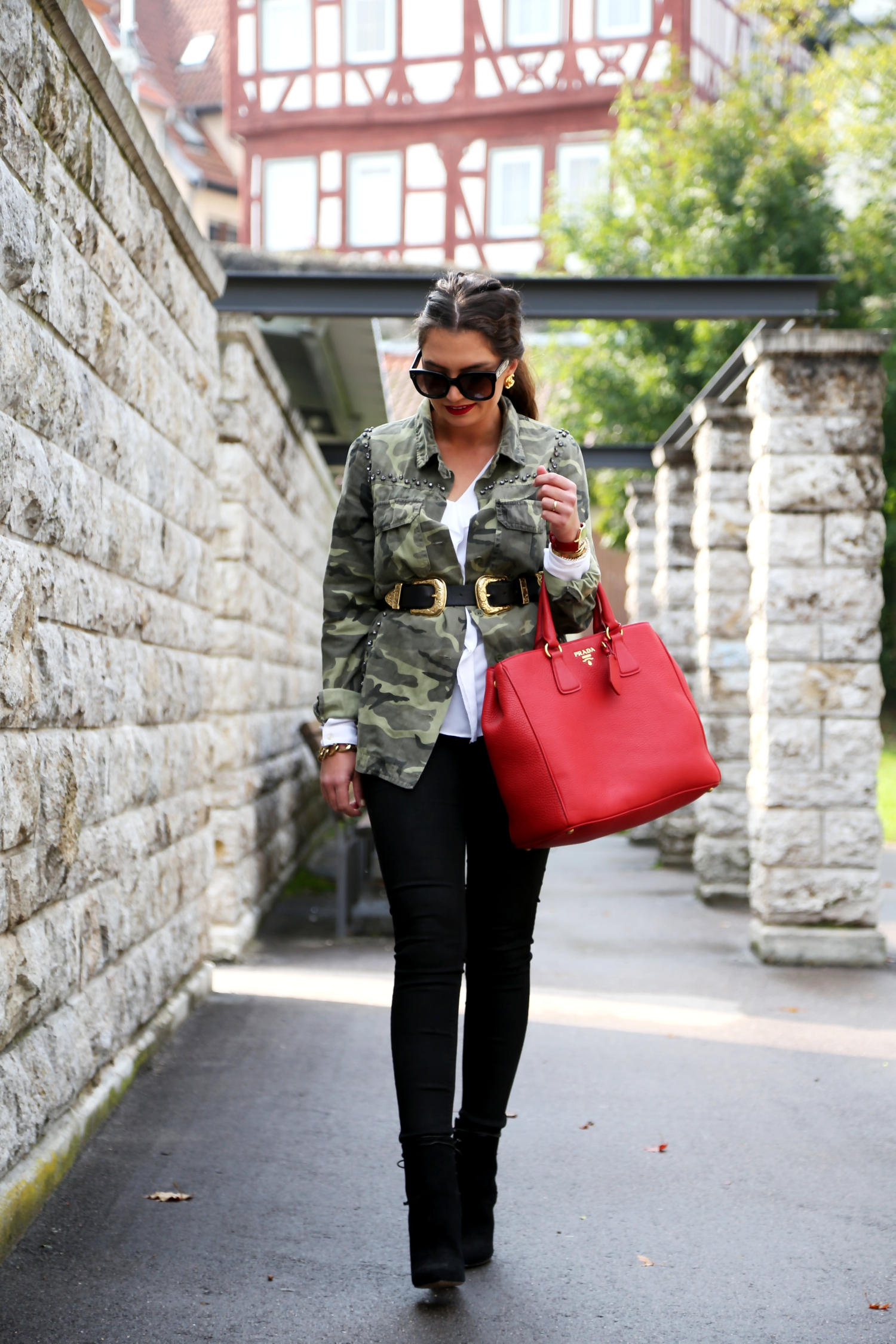 Outfit Military Coat Red Prada Bag And Some Chunky