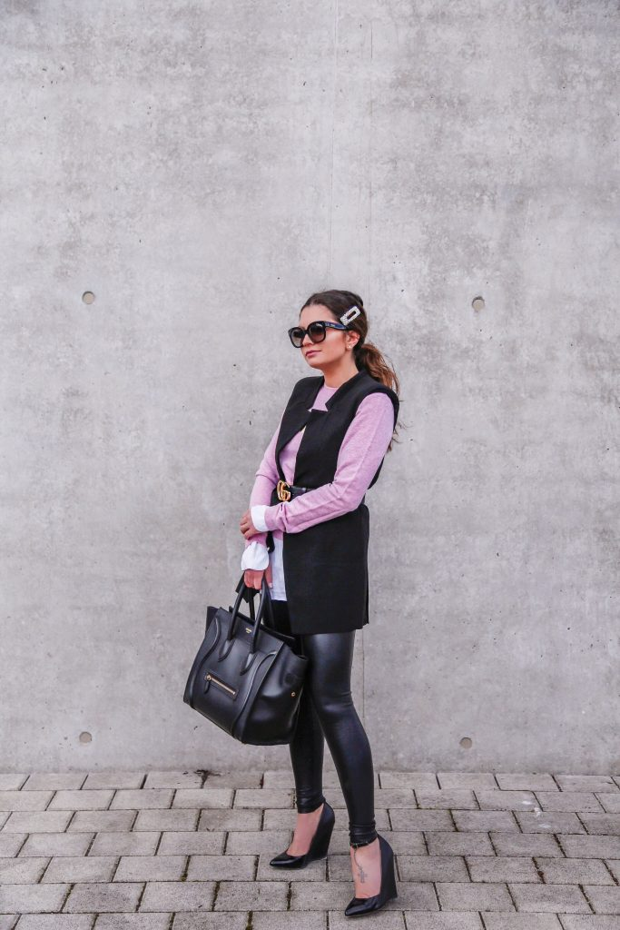 factory authentic bf418 7a634 outfit: pink Kenzo sweater, Céline Luggage, faux leather ...